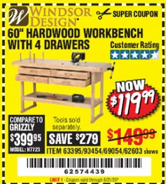 "Harbor Freight Coupon 60"" HARDWOOD WORKBENCH WITH 4 DRAWERS Lot No. 63395/93454/69054/62603 Expired: 6/21/20 - $119.99"