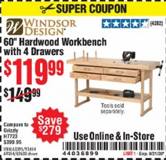 "Harbor Freight Coupon 60"" HARDWOOD WORKBENCH WITH 4 DRAWERS Lot No. 63395/93454/69054/62603 Valid Thru: 9/21/20 - $119.99"