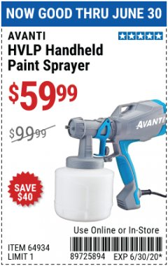 Harbor Freight Coupon HVLP HANDHELD PAINT SPRAYER Lot No. 64934 EXPIRES: 6/30/20 - $59.99