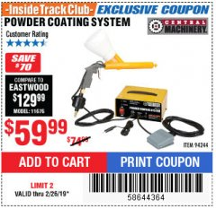 Harbor Freight ITC Coupon POWDER COATING SYSTEM Lot No. 94244 Expired: 2/26/19 - $59.99