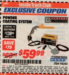 Harbor Freight ITC Coupon POWDER COATING SYSTEM Lot No. 94244 Expired: 7/31/19 - $59.99