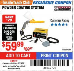Harbor Freight ITC Coupon POWDER COATING SYSTEM Lot No. 94244 Expired: 1/28/20 - $59.99