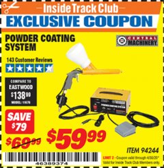 Harbor Freight ITC Coupon POWDER COATING SYSTEM Lot No. 94244 Expired: 4/30/20 - $59.99