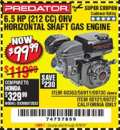 Harbor Freight Coupon 6.5 HP (212 CC) OHV HORIZONTAL SHAFT GAS ENGINE Lot No. 60363/69730/68121/69727 Expired: 6/28/20 - $99.99
