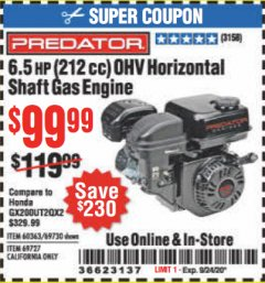 Harbor Freight Coupon 6.5 HP (212 CC) OHV HORIZONTAL SHAFT GAS ENGINE Lot No. 60363/69730/68121/69727 Expired: 9/24/20 - $99.99