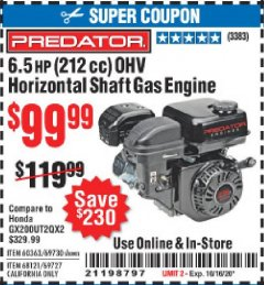 Harbor Freight Coupon 6.5 HP (212 CC) OHV HORIZONTAL SHAFT GAS ENGINE Lot No. 60363/69730/68121/69727 Expired: 10/16/20 - $99.99