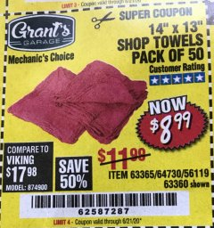 "Harbor Freight Coupon 14"" X 13"" SHOP TOWELS PACK OF 50 Lot No. 63365/64730/56119/63360 EXPIRES: 6/21/20 - $8.99"