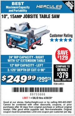 "Harbor Freight Coupon 10"", 15 AMP JOBSITE TABLE SAW Lot No. 64855 Expired: 6/30/20 - $249.99"