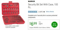 Harbor Freight Coupon 100 PIECE SECURITY BIT SET WITH CASE Lot No. 91310/62657/68457 EXPIRES: 6/30/20 - $6.99