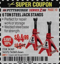 Harbor Freight Coupon 6 TON STEEL JACK STANDS Lot No. 56369/56370/56368 Expired: 3/30/20 - $44.99
