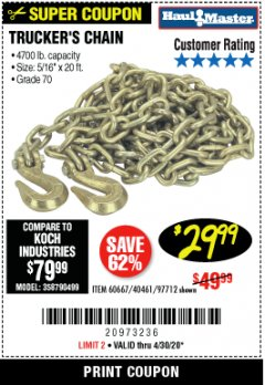 Harbor Freight Coupon TRUCKER'S CHAIN Lot No. 60667, 40461, 97712 Expired: 6/30/20 - $29.99