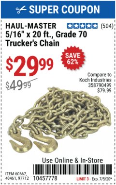 Harbor Freight Coupon TRUCKER'S CHAIN Lot No. 60667, 40461, 97712 Valid Thru: 7/5/20 - $29.99