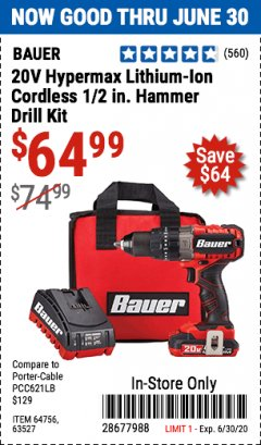 Harbor Freight Coupon 20V HYPERMAX LITHIUM-ION CORDLESS 1/2 IN. HAMMER DRILL KIT Lot No. 64754 Expired: 6/30/20 - $64.99