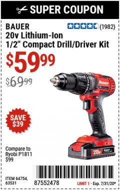 Harbor Freight Coupon 20V HYPERMAX LITHIUM-ION CORDLESS 1/2 IN. HAMMER DRILL KIT Lot No. 64754 Expired: 7/31/20 - $59.99