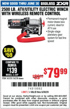 Harbor Freight Coupon BADLAND ZXR 2500 LB. ATV/UTILITY ELECTRIC WINCH WITH WIRELESS REMOTE CONTROL Lot No. 56528 EXPIRES: 6/30/20 - $79.99