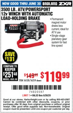Harbor Freight Coupon 3500 LB. ATV/POWERSPORT 12V WINCH WITH AUTOMATIC LOAD-HOLDING BRAKE Lot No. 56528/56259 EXPIRES: 6/30/20 - $119.99