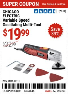 Harbor Freight Coupon VARIABLE SPEED MULTI-TOOL Lot No. 63113/67537/63111 Valid: 9/23/20 - 10/31/20 - $19.99