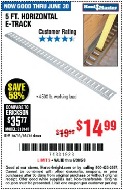 Harbor Freight Coupon 5FT HORIZONTAL E-TRACK Lot No. 56755/66726 EXPIRES: 6/30/20 - $14.99