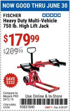 Harbor Freight Coupon HEAVY DUTY MULTI-VEHICLE 750LB. HIGH LIFT JACK Lot No. 64884/63298 EXPIRES: 6/30/20 - $179.99