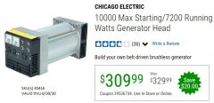 Harbor Freight Coupon 10000 MAX STARTING/7200 RUNNING WATTS GENERATOR HEAD Lot No. 45416 EXPIRES: 6/30/20 - $309.99
