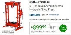 Harbor Freight Coupon CENTRAL HYDRAULICS 50 TON DUAL SPEED INDUSTRIAL HYDRAULIC SHOP PRESS Lot No. 96188/46768 EXPIRES: 6/30/20 - $899.99