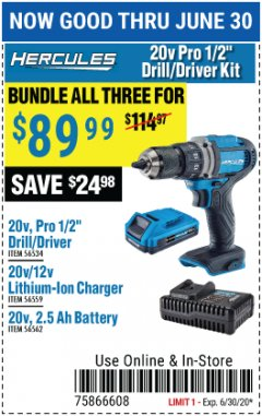 "Harbor Freight Coupon HERCULES 20V PRO 1/2"" DRILL/DRIVER KIT Lot No. 56534/56559/56562 EXPIRES: 6/30/20 - $89.99"