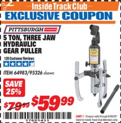 Harbor Freight ITC Coupon 5 TON, THREE JAW HYDRAULIC GEAR PULLER Lot No. 64983/95326 Valid Thru: 6/30/20 - $59.99