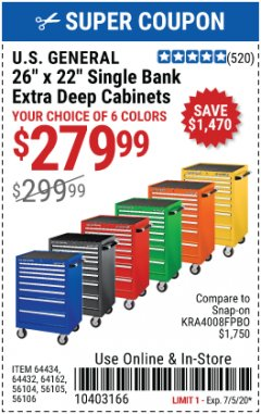 "Harbor Freight Coupon 26"" X 22"" SINGLE BANK EXTRA DEEP CABINET Lot No. 64434,56105,64432,56104,64162,56106 EXPIRES: 7/5/20 - $279.99"