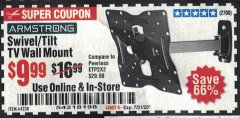 "Harbor Freight Coupon ARMSTRONG 17"" TO 42"" SWIVEL/TILT TV WALL MOUNT Lot No. 64238 Valid Thru: 7/31/20 - $9.99"