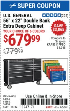 "Harbor Freight Coupon U.S. GENERAL 56"" X 22"" DOUBLE BANK EXTRA DEEP CABINET TOOL BOX Lot No. 64458 EXPIRES: 7/5/20 - $679.99"