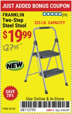 Harbor Freight Coupon FRANKLIN TWO-STEP STOOL Lot No. 56760 Expired: 9/30/20 - $19.99