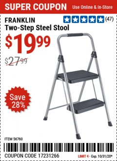 Harbor Freight Coupon FRANKLIN TWO-STEP STOOL Lot No. 56760 Expired: 10/31/20 - $19.99
