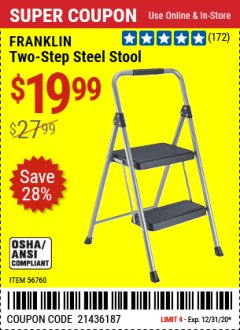 Harbor Freight Coupon FRANKLIN TWO-STEP STOOL Lot No. 56760 Expired: 12/31/20 - $19.99