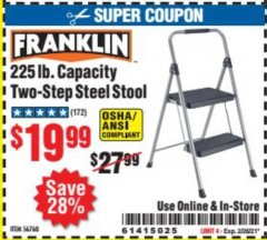 Harbor Freight Coupon FRANKLIN TWO-STEP STOOL Lot No. 56760 Expired: 2/26/21 - $19.99