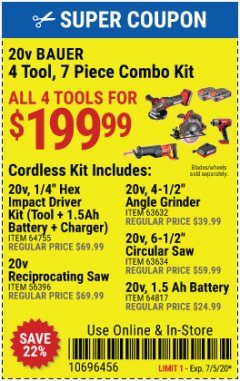 Harbor Freight Coupon 20V BAUER 4 TOOL, 7 PIECE COMBO KIT Lot No. 64755, 56396, 63632, 63634, 64817 EXPIRES: 7/5/20 - $199.99