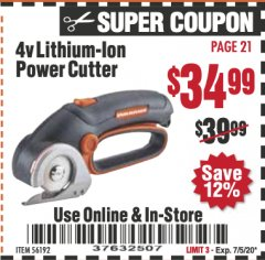 Harbor Freight Coupon 4V LITHIUM-ION POWER CUTTER Lot No. 56192 Valid Thru: 7/5/20 - $34.99
