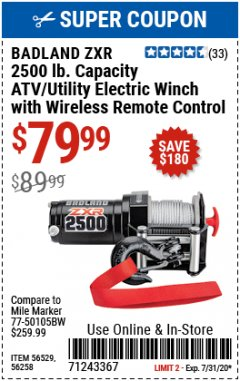 Harbor Freight Coupon BADLAND ZXR 2500LB ATV/UTILITY WINCH WITH WIRELESS REMOTE Lot No. 56258 Valid: 7/1/20 - 7/15/20 - $79.99