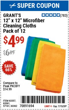 "Harbor Freight Coupon GRANT'S 12"" X 12"" MICROFIBER CLEANING CLOTHS PACK OF 12 Lot No. 63357/63361/57161/63362 Expired: 7/15/20 - $4.99"
