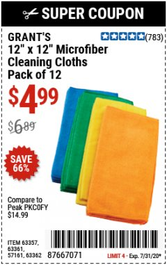 "Harbor Freight Coupon GRANT'S 12"" X 12"" MICROFIBER CLEANING CLOTHS PACK OF 12 Lot No. 63357/63361/57161/63362 Expired: 7/31/20 - $4.99"
