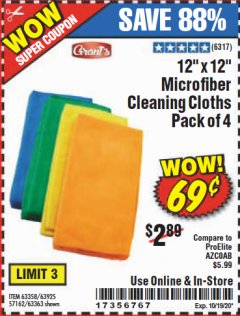 "Harbor Freight Coupon GRANT'S 12"" X 12"" MICROFIBER CLEANING CLOTHS PACK OF 12 Lot No. 63357/63361/57161/63362 Expired: 10/19/20 - $0.69"