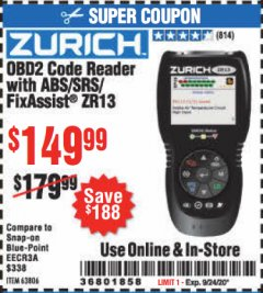 Harbor Freight Coupon ZURICH OBD2 CODE READER WITH ABS/SRS/FIXASSIST® ZR13 Lot No. 63806 Expired: 9/24/20 - $149.99
