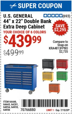 "Harbor Freight Coupon U.S. GENERAL 44"" X 22"" DOUBLE BANK EXTRA DEEP CABINETS (ALL COLORS) Lot No. 64446/64443/64281/64954/64955/64956 Expired: 7/15/20 - $439.99"