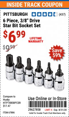 "Harbor Freight ITC Coupon 6 PIECE 3/8"" DRIVE STAR BIT SOCKET SET Lot No. 67886 Expired: 8/31/20 - $6.99"