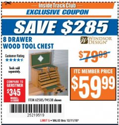 Harbor Freight ITC Coupon EIGHT DRAWER WOOD TOOL CHEST Lot No. 62585/94538 Expired: 12/11/18 - $59.99