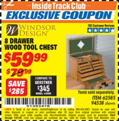Harbor Freight ITC Coupon EIGHT DRAWER WOOD TOOL CHEST Lot No. 62585/94538 Expired: 1/31/19 - $59.99