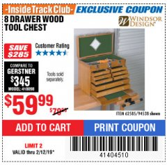 Harbor Freight ITC Coupon EIGHT DRAWER WOOD TOOL CHEST Lot No. 62585/94538 Expired: 2/12/19 - $59.99