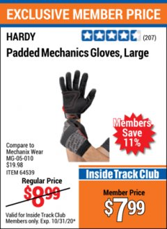 Harbor Freight ITC Coupon HARDY MECHANICS GLOVES Lot No. 62434, 62426, 62433, 62432, 62429, 64179, 62428, 64178 Valid Thru: 10/31/20 - $7.99