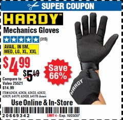 Harbor Freight Coupon HARDY MECHANICS GLOVES Lot No. 62434, 62426, 62433, 62432, 62429, 64179, 62428, 64178 Expired: 10/23/20 - $4.99
