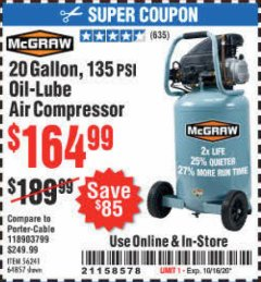 Harbor Freight Coupon 20 GALLON, 135 PSI OIL-LUBE AIR COMPRESSOR Lot No. 56241  Expired: 10/16/20 - $164.99