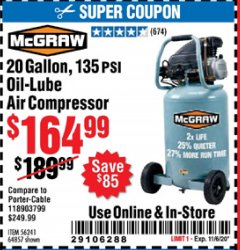 Harbor Freight Coupon 20 GALLON, 135 PSI OIL-LUBE AIR COMPRESSOR Lot No. 56241  Valid Thru: 11/6/20 - $164.99